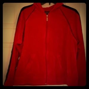 Cassini red with black velour jacket.